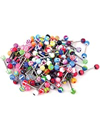 Lot of 50/100 14G Assorted Colors Mixed Tongue Rings Barbells Body Piercing Nipple Jewelry