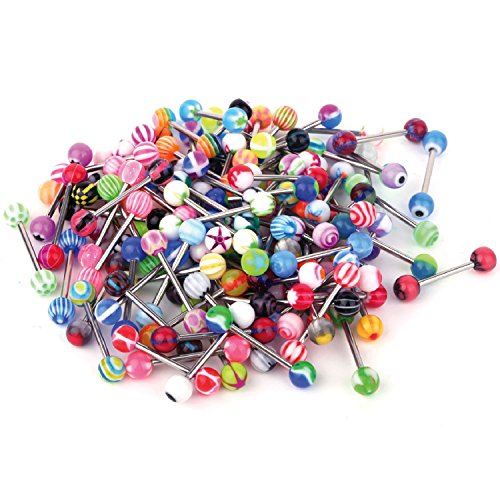 BodyJ4You 100PC Tongue Barbells Nipple Rings 14G Mix Acrylic Ball Steel Bar Body Piercing Jewelry
