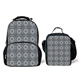 iPrint Schoolbags Lunch Bag,Arabian,Retro Style Arabesque Motifs Mosaic Ceramic Design Traditional Culture Print Decorative,Grey White Blue,Two Piece Set
