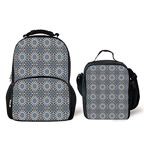 iPrint Schoolbags Lunch Bag,Arabian,Retro Style Arabesque Motifs Mosaic Ceramic Design Traditional Culture Print Decorative,Grey White Blue,Two Piece Set by iPrint