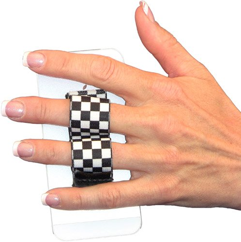 LAZY-HANDS 2-Loop Phone Grip - FITS MOST - Black & White Checkers