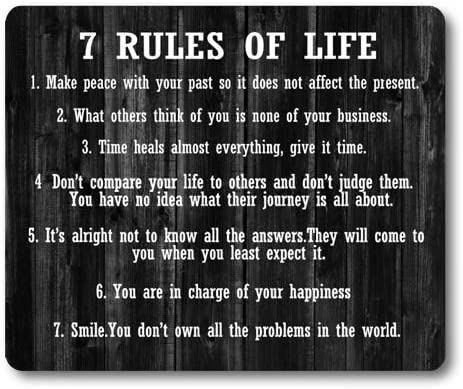 Knseva Inspirational Quote Rustic Black Wood Mouse Pad, 7 Rules of Life Inspiring Quotes for Life, Positive Motivational Quotes White Black Mouse Pads