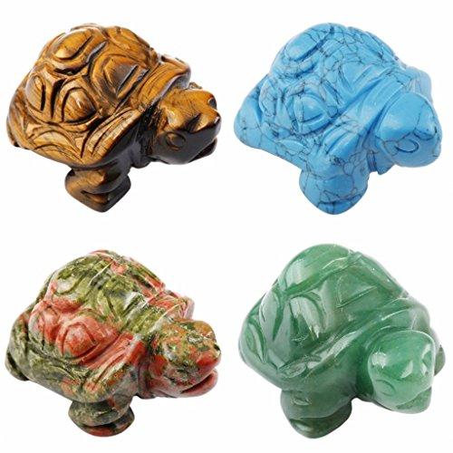 rockcloud Healing Crystal Guardian Turtle Tortoise Pocket Stone Figurines Carved Gemstone Crafts 1.5''