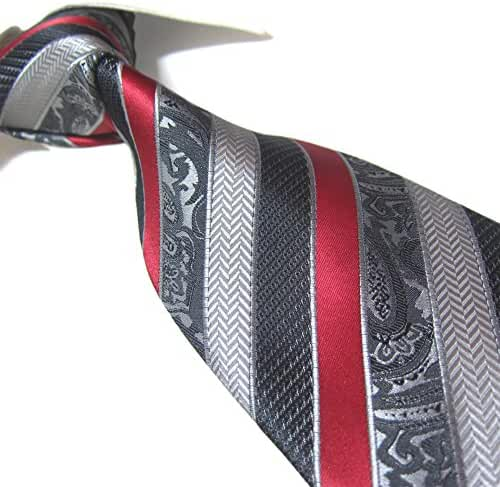 Extra Long Fashion Tie Red/Gray Striped XL Men's Woven Necktie 63