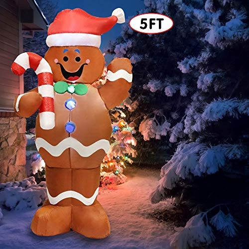 Joiedomi JO-GM01 Yard Decoration 5ft Self-Inflatable Gingerbread Man with Candy Canes Perfect for Wavin, White