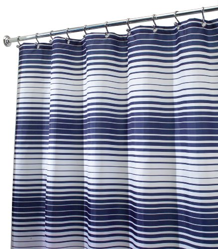 "InterDesign Enzo Stripe Fabric Shower Curtain, 72"" x 72"", Navy/White - 12 RUST-PROOF metal grommets for easy hanging MACHINE WASHABLE, tumble dry low QUICK-DRY, MOLD/MILDEW RESISTANT shower curtain with graduated stripe detail - shower-curtains, bathroom-linens, bathroom - 51CFtnbwAnL -"