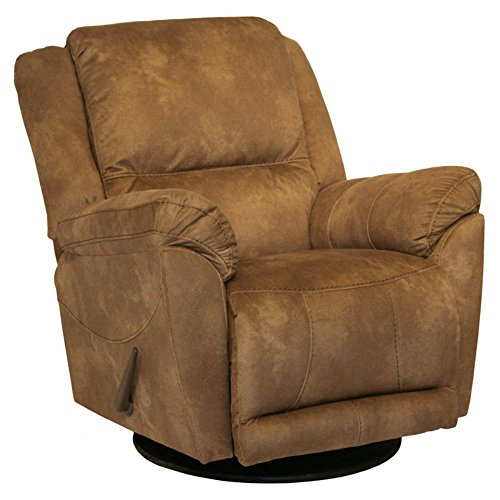 Leather Recliner Glider Full Swivel (Catnapper Maverick Chaise Swivel Glider Recliner Chair in Saddle)