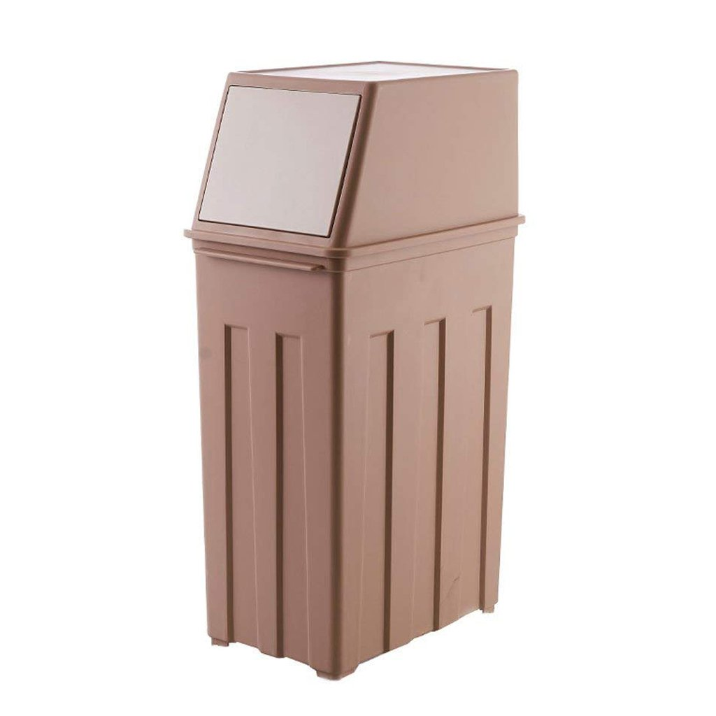 Jueven Nordic Creative PP Plastic 30L Large Capacity Trash Can Office Kitchen Living Room Hotel with Pulley Press-type Trash Can (Color : Khaki, Size : No pulley)