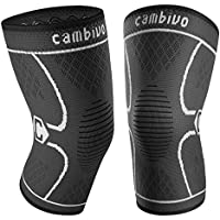 2-Pack Cambivo Knee Brace Knee Compression Sleeve Support for Running, Arthritis, ACL, Meniscus Tear, Sports, Joint Pain Relief and Injury Recovery