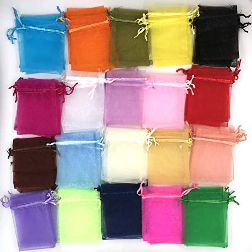 ATCG 200pcs 3x4 Inches Drawstring Organza Pouches Wedding Party Jewelry Favor Gift Candy Bags (Multi Color)