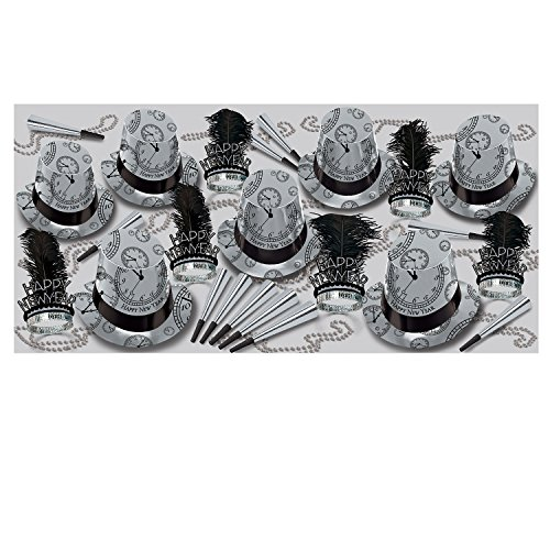Beistle 86193-50 Silver Times Assortment for 50 People, , Black/Silver/White by Beistle