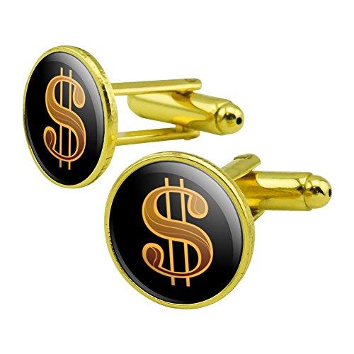 GRAPHICS & MORE Dollar Sign Symbol Round Cufflink Set Gold Color