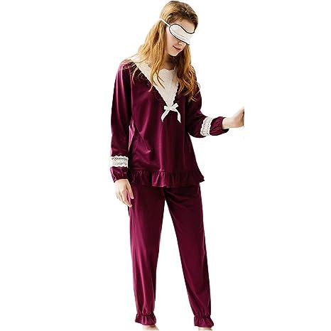 Pijamas Cuatro temporadas de pijamas para hembras Encaje de manga larga  vestidor para el hogar Dulce 41aa580912a6