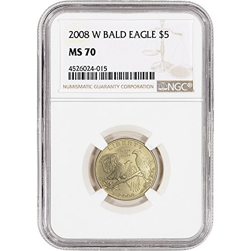 Eagle Bald 2008 Coins (2008 W US Commemorative Gold BU Bald Eagle Large Label $5 MS70 NGC)