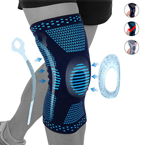 NEENCA Professional Knee Brace Compression Sleeve,Elastic Knee Wraps with Silicone Gel & Spring Support,Medical Grade Silicone Knee Protector for Meniscus Tear Arthritis Sports Men Women