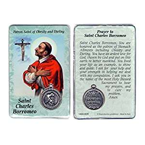 Saint St St. Charles Borromeo Prayer Card Holy Card Cards Patronage Patron Obesity Dieting with Medal 51CFv9GNP4L