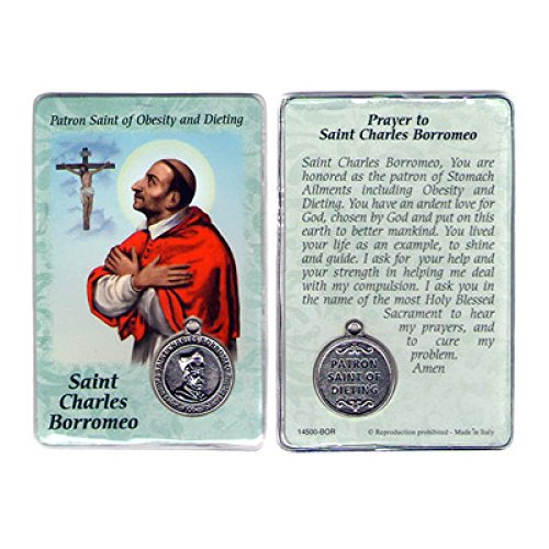 Saint Charles Borromeo Medals - Saint St St. Charles Borromeo Prayer Card Holy Card Cards Patronage Patron Obesity Dieting with Medal