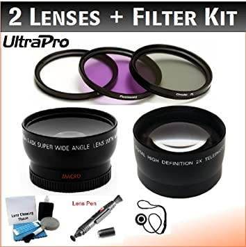 Filter Bundle +1, +2, +4, +10 3-piece Filter Kit 77mm Digital Pro Deluxe Lens 0.45x HD Wide Angle Lens w//Macro Lens Cap Keeper + Lens Cleaning Pen Includes 2x Telephoto Lens UltraPro Deluxe Lens Cl UV, CPL, FL-D + 4-Piece Close-Up Filter Kit