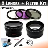 58mm Deluxe Lens Kit for Select Olympus Digital Cameras. Includes 2x Telephoto Lens, 0.45x HD Wide Angle Lens w/ Macro, 3-pc Filter Kit (UV, CPL, FL-D) and UltraPro Deluxe Accessory Set Included
