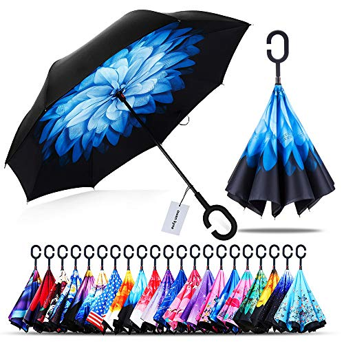 Owen Kyne Windproof Double Layer Folding Inverted Umbrella, Self Stand Upside-Down Rain Protection Car Reverse Umbrellas with C-Shaped Handle (Blue Flower)