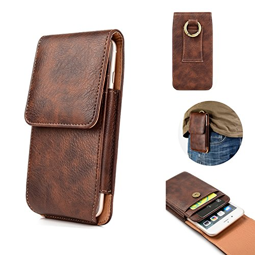 Vertical Case Leather Mobile - iPhone 7 Plus 8 Plus Belt Holster, kiwitatá Vertical Premium Leather Protective Carrying Cell Phone Case with Belt Loop and Card Slots for iPhone 6S Plus iPhone Xs Max (Brown)