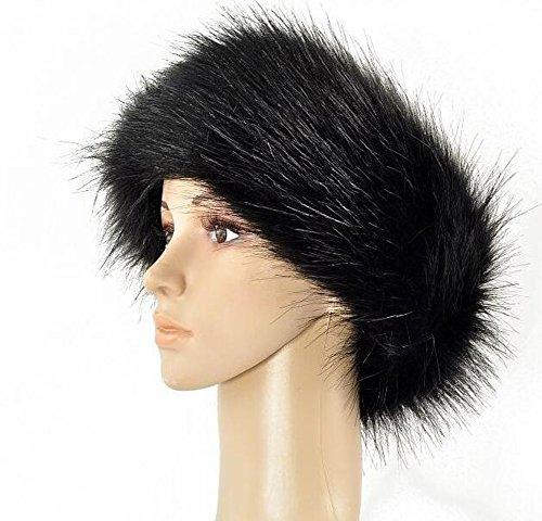 - Pinklife Faux Fox Fur Russian Winter Headband Hat Sports Outdoor Ski Cap Ear Warmer Hairband Ear Muff Hat (Black)
