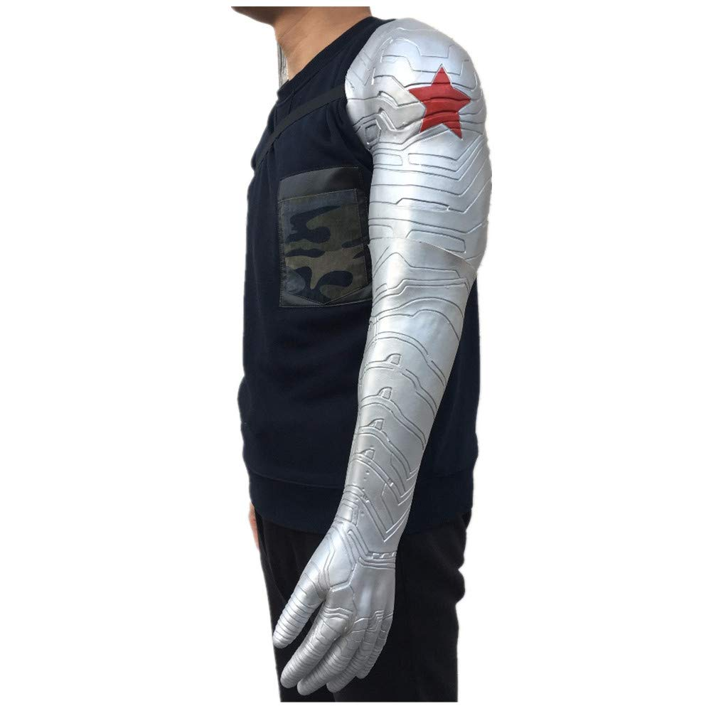 PONGONE Bucky Arm Winter Soldier Arm Halloween Cosplay Muscle Costume Props Latex Silver by PONGONE (Image #1)