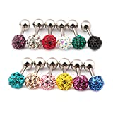 Best Surker Piercings - Surker 12pcs CZ Gem Beads 16G Stainless Steel Review
