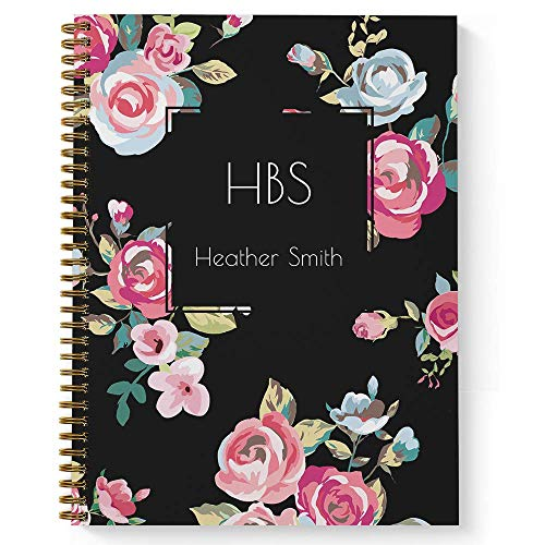 Bold Blooms Personalized Notebook/Journal, Laminated Soft Cover, 120 College Ruled pages, lay flat wire-o spiral. Size: 8.5