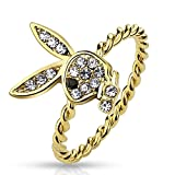 STR-0471 Brass Gold Ion Plated Gem Paved Playboy Bunny Rope Ring (9)