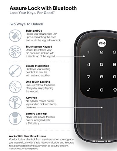 Yale Security YRD446NR0BP YRD446-NR-0BP Real Living Key Free Assure  Touchscreen Stand Alone Deadbolt, Oil Rubbed Bronze