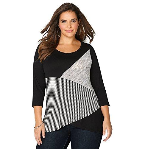 Avenue Women's Striped Colorbock Asymmetric Top, 26/28 Black