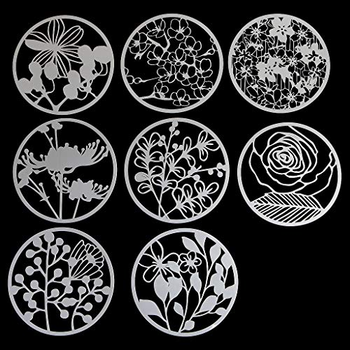 8Pcs Round Grilles Drawing Molds Plastic Children Painting Stencils DIY Paper Art Craft Card Label Scrapbook Bookmark Educational Toy
