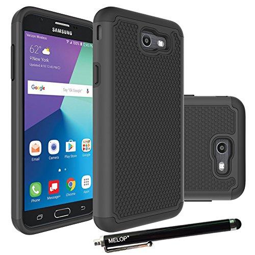 Galaxy J7 2017 Case, Galaxy J7 V / J7 Prime / J7 Perx Case / J7 Sky Pro / Galaxy Halo Case, MELOP Hybrid Dual Layer Tough Ultra Defender Drop Protective Case Cover for Samsung Galaxy 7(2017) - Black