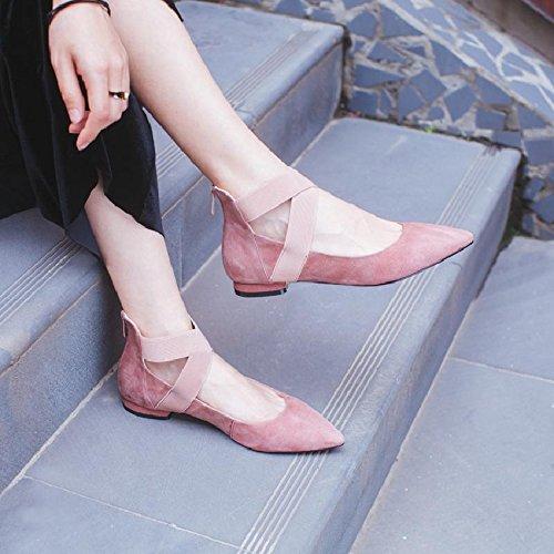 Piatto Solo Scarpe Bottom Da Donna GTVERNH Fondo Pink Croce Detto Superficiale Primavera Bocca Soft Roma Cravatte Scarpe Balletto 1tqwn0qSH