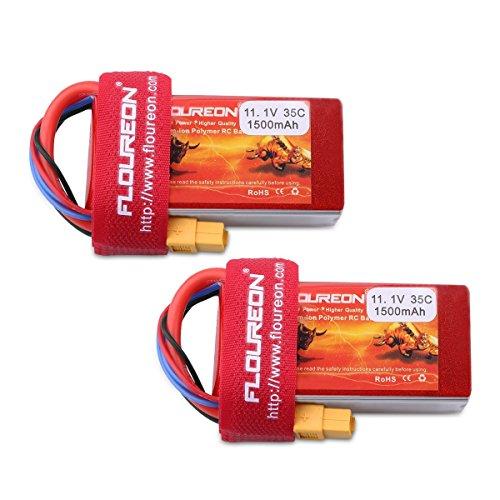 FLOUREON 2Packs 3S 11.1V 1500mAh 35C LiPo Battery Pack with XT60 Plug for RC Evader BX RC Car Skylark m4-fpv250 Mini Shredder 200 Qav250 Vortex Drone and ()