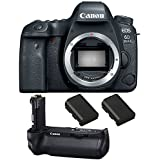 Canon EOS 6D Mark II DSLR Camera (Body Only), Canon BG-E21 Battery Grip, 2 Spare Batteries