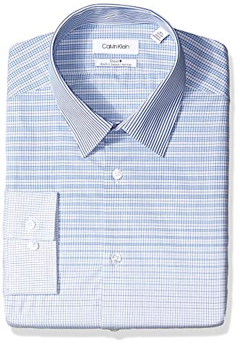 Calvin Klein Men's Dress Shirts Non Iron Slim Fit Stretch Check, Navy, 14.5