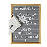 Gray Felt Letter Board with 696 Letters, Numbers & Symbols 16 x 12 inch :: Changeable Letter Board for Quotes, Messages & Displays :: Word Board Hangs Or Stands Alone:: Includes 2 Bonus Storage Bags