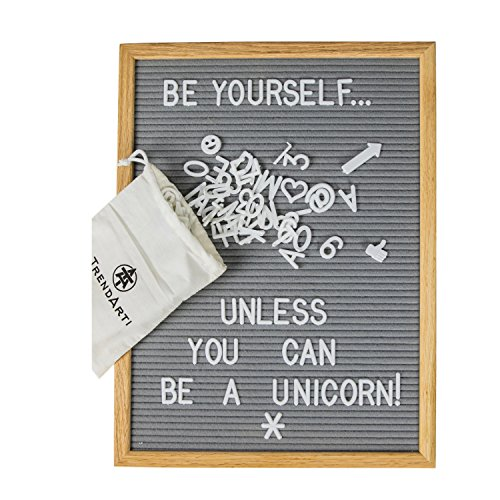 Gray Felt Letter Board with 696 Letters, Numbers & Symbols 16 x 12 inch :: Changeable Letter Board for Quotes, Messages & Displays :: Word Board Hangs Or Stands Alone:: (Cafe Felt)