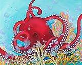 Octingo's Sea Parade - Red Octopus Art Canvas - Ocean Home Decor