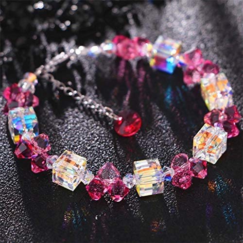 ZSML Women Bracelet Austrian Crystals from Colorful Aurora Cube Sugar Bangle Adjustable Charm Bracelets Jewelry with a Luxury Gift Box,Pink