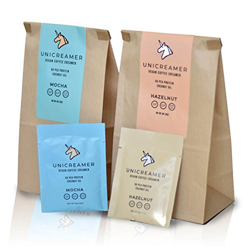 Unicreamer Vegan Non Dairy Coffee Creamer - Single Serve Individual Packets With Pea Protein Powder & Coconut Oil | Eco Friendly, Keto & Gluten Free Plant Based (Hazelnut, 30-Pack)