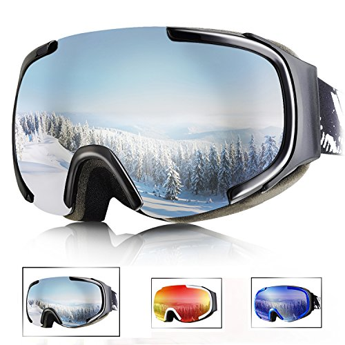 Tryiins OTG Ski Goggles Over Glasses Women's Mens Youth Anti Fog Ski Snowboard Snow Goggles with Big Wide Sherical Lens Panoramic View with half frame protection 100% UV Protection Smooth Air-flow Otg Over Glasses