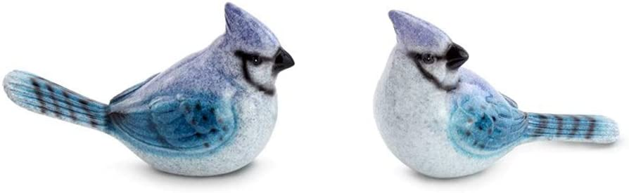 Napco Blue Jay Glossy Blue and White 6 x 4 Ceramic Collectible Figurines Set of 2