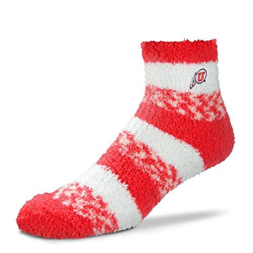 (For Bare Feet NCAA RMC Pro Stripe Fuzzy Sleep Soft Sock -Utah Utes-Size-Medium)