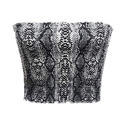 - Women's Strapless Pleated Print Bandeau Sexy Tube Crop Tops(Grey Snake,S/M)