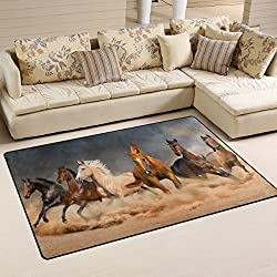 Naanle Animal Area Rug 3'x5', Running Horse in Desert Sand Storm Polyester Area Rug Mat for Living Dining Dorm Room Bedroom Home Decorative