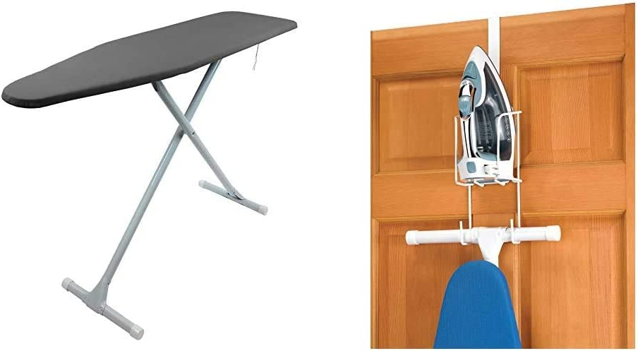 HOMZ Ironing Board T-Leg, Charcoal Grey & Whitmor Wire Over The Door Ironing Caddy - Iron and Ironing Board Storage Organizer