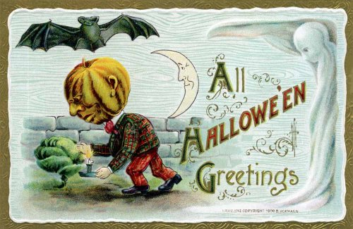 Vintage Halloween Poster Made From Circa 1910 Postcard B. Hofmann Pumpkin Man Flying Bat Ghost Cabbage 18